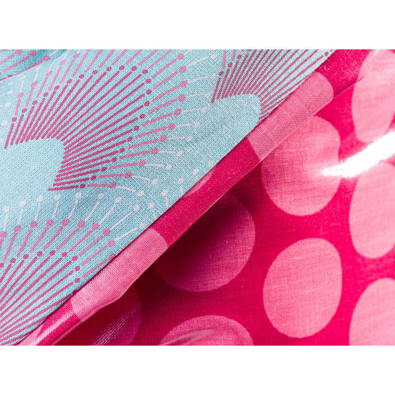 AU Maison Picknickdecke XL Krabbeldecke 140x180 gross Rosa Punkte Türkis Baumwolle Wachstuch Chrysler Super Dot Aqua Sky Raspberry Peachy Pink wasserabweisend Detail