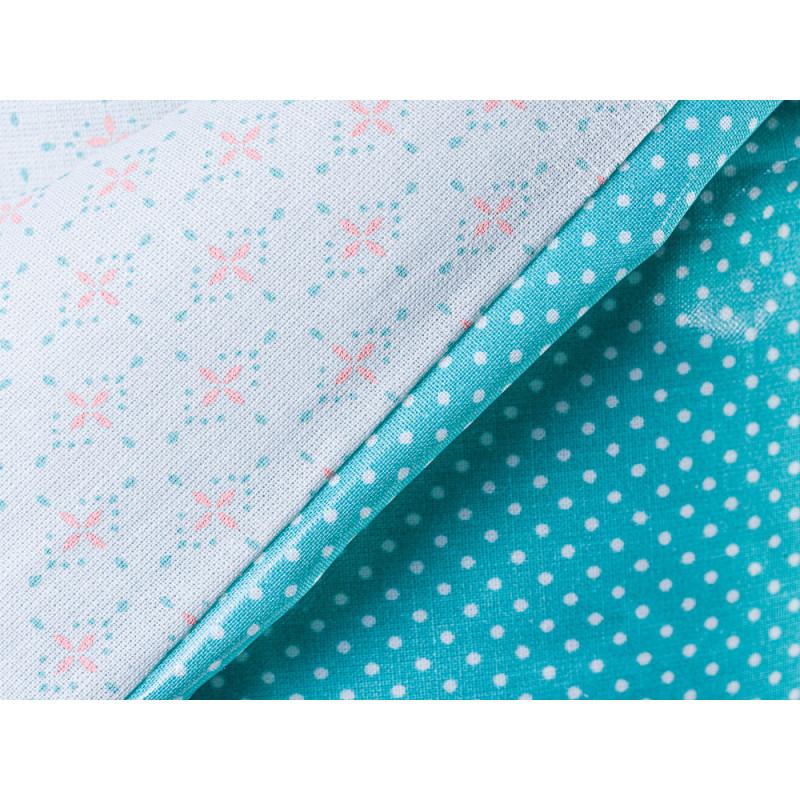 AU Maison Picknickdecke XL Krabbeldecke 140x180 gross Türkis Grün Weiss Punkte Blumen Baumwolle Wachstuch Yasmin Dots Dusty Turquoise Azur wasserabweisend Detail