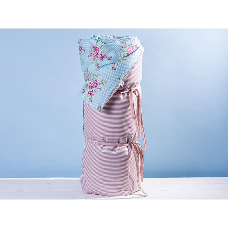 AU Maison Picknickdecke XL Krabbeldecke 140x180 gross Türkis Punkte Blume Streifen Rosa Baumwolle Wachstuch Aqua Sky Woodrose wasserabweisend
