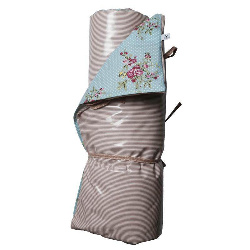 AU Maison Picknickdecke XL Türkis Punkte Blumen Streifen Rosa Baumwolle Wachstuch Aqua Sky Woodrose wasserabweisend Krabbeldecke 140x180