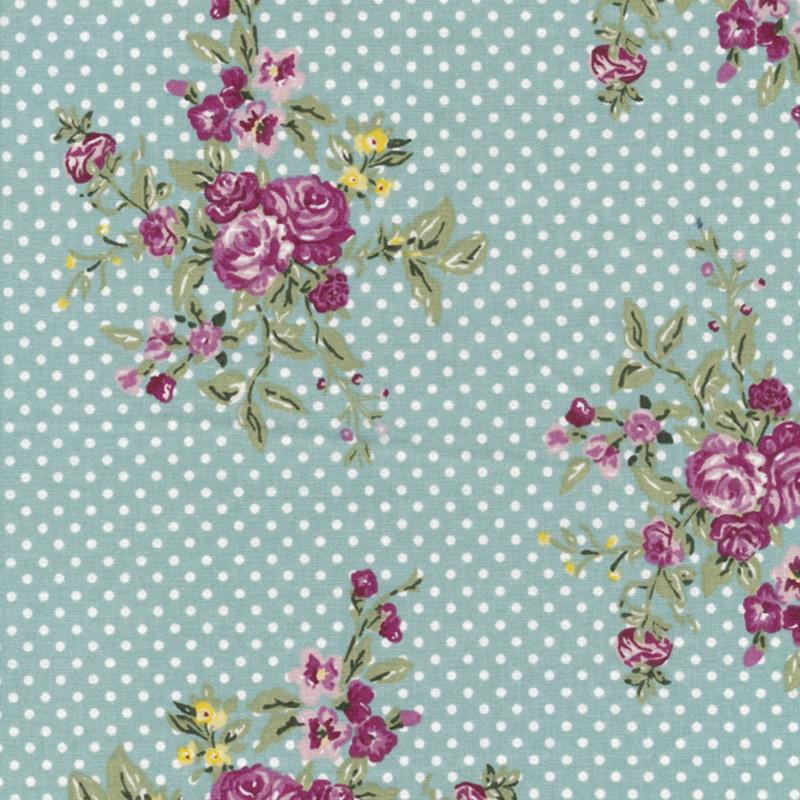 AU Maison Wachstuch Flora Aqua Sky Tischdecke Stoff aus Baumwolle Türkis Punkte Blumen Muster 140 cm