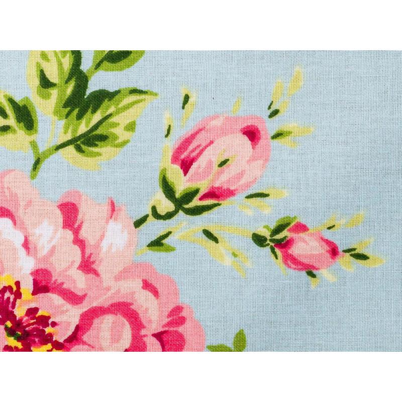 AU Maison Wachstuch Sophia Aqua Sky Stoff Meterware aus Baumwolle beschichtet türkis mit Blumen Detail Struktur