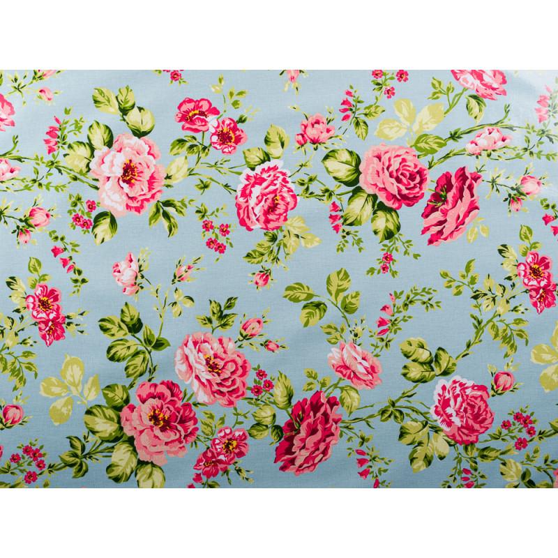 AU Maison Wachstuch Sophia Aqua Sky Stoff Meterware aus Baumwolle beschichtet türkis mit Blumen Muster Überblick Rosenmuster