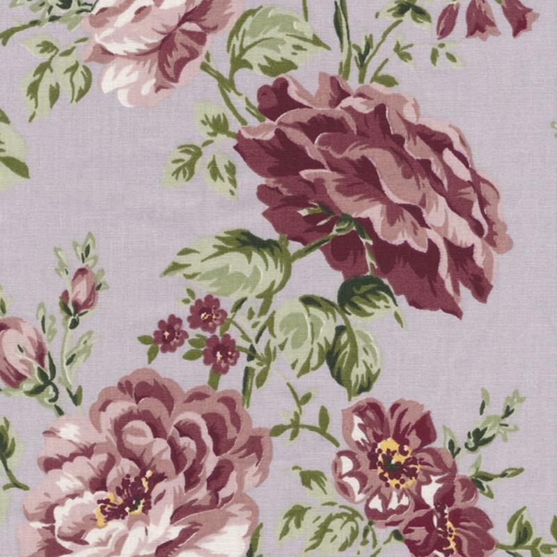 AU Maison Wachstuch Sophia Dusty Violet Tischdecke aus Baumwolle beschichtet staubig lila mit Blumen 140 cm Meterware zum selber nähen
