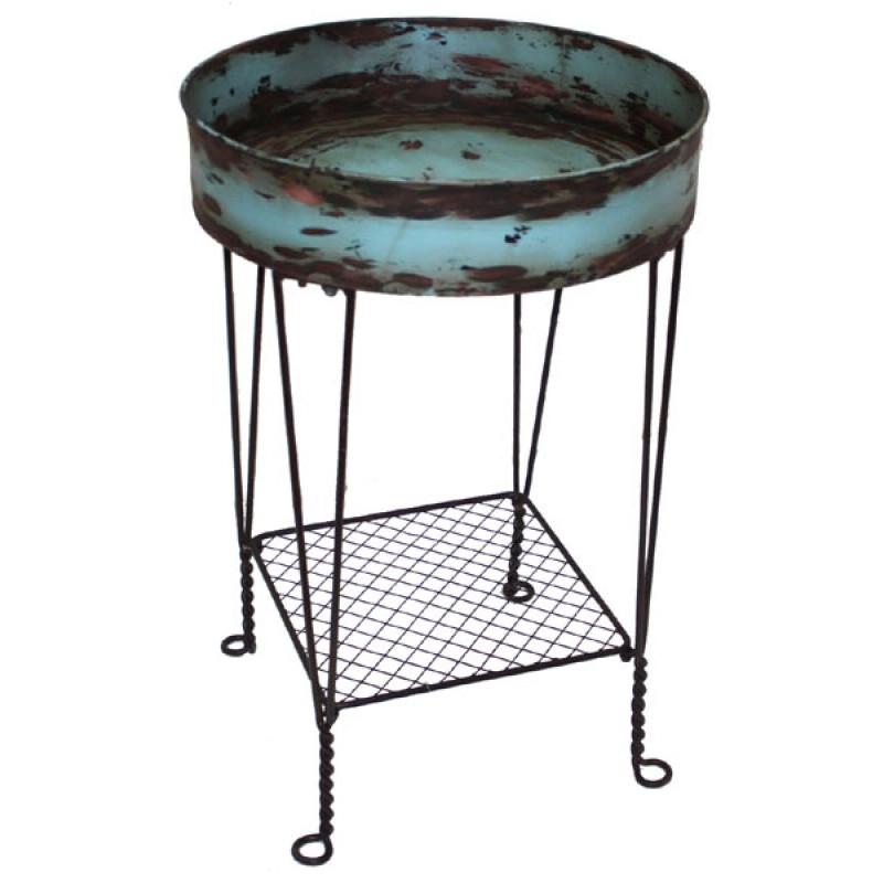 Beistelltisch Aqua Metall rund Antik Blau Gartendeko