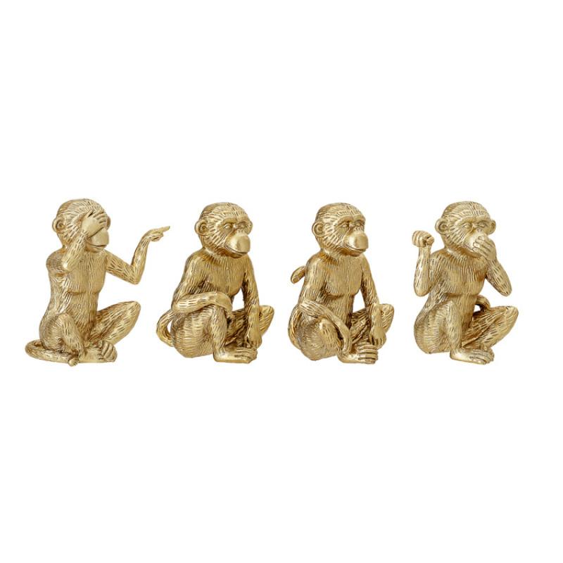 Bloomingville Affe gold Deko Figur 4 goldene Affen im Set Grösse 14 cm seitlich