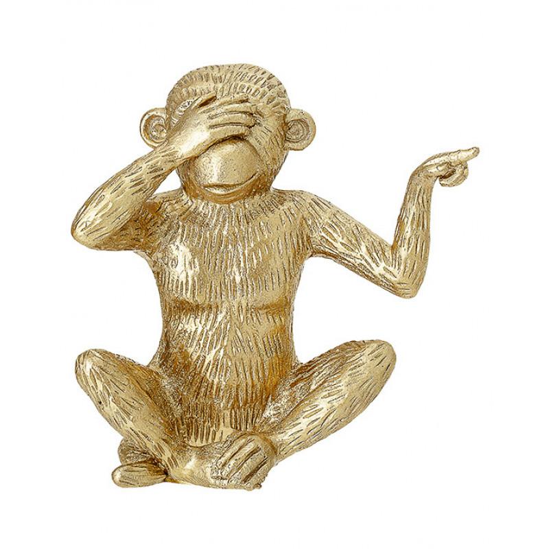 Bloomingville Affe gold Deko Figur nichts sehen Augen zu