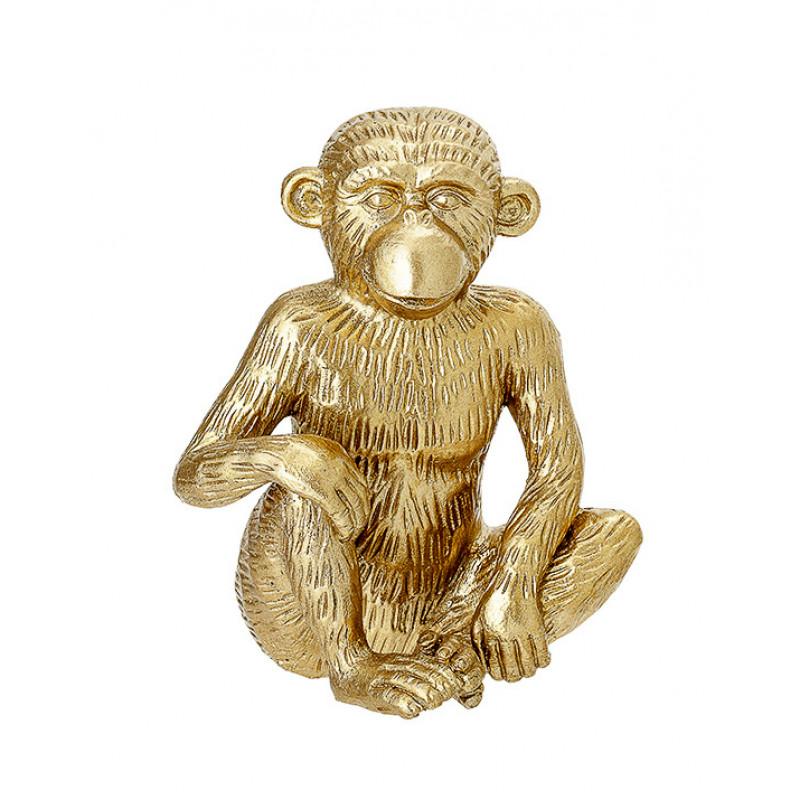 Bloomingville Affe gold Deko Figur sitzt Hand auf Knie