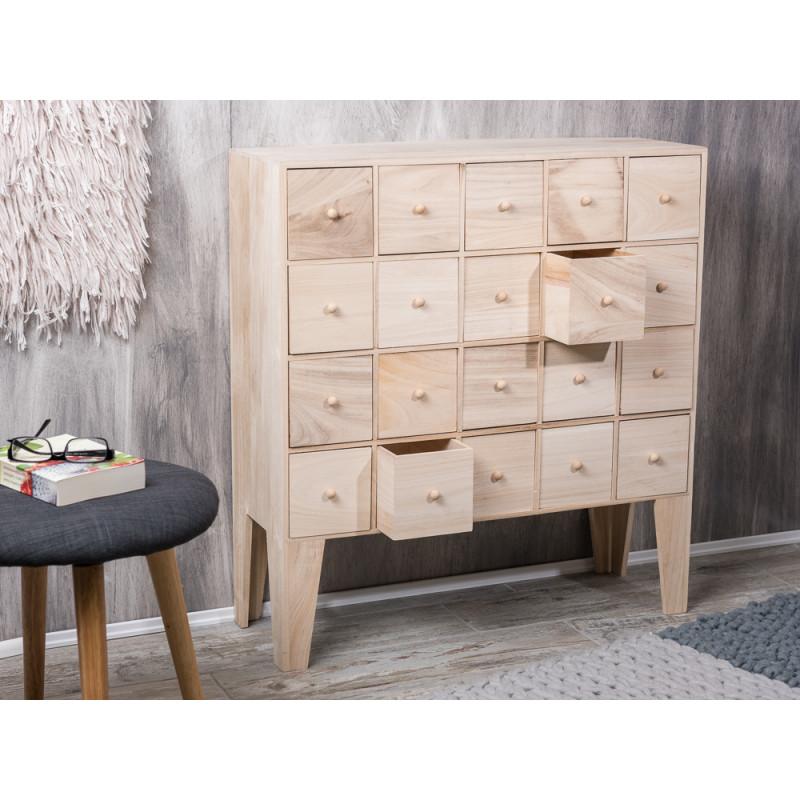 bloomingville apothekerschrank mit 20 schubladen aus holz natur h he ca 77 cm. Black Bedroom Furniture Sets. Home Design Ideas