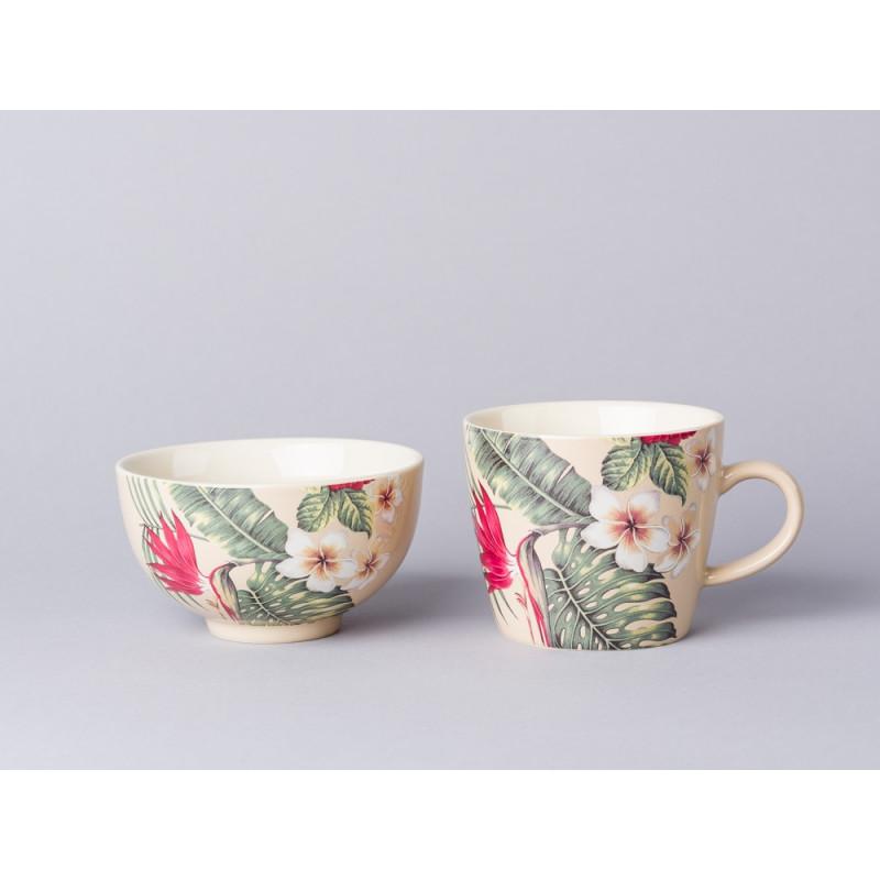 Bloomingville Aruba Geschirr Tasse und Schale aus Keramik in creme beige mit Blumen und Palmen Blättern