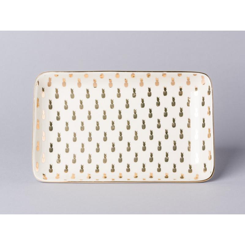 Bloomingville Aruba Tablett Teller creme gold mit Ananas Design Untersetzer Serviertablett aus Keramik mit Goldrand