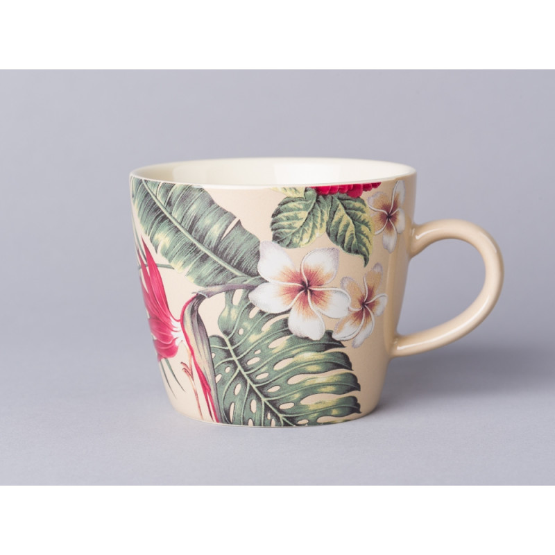 Bloomingville Aruba Tasse mit Henkel bunte Blüten und Palmenblätter