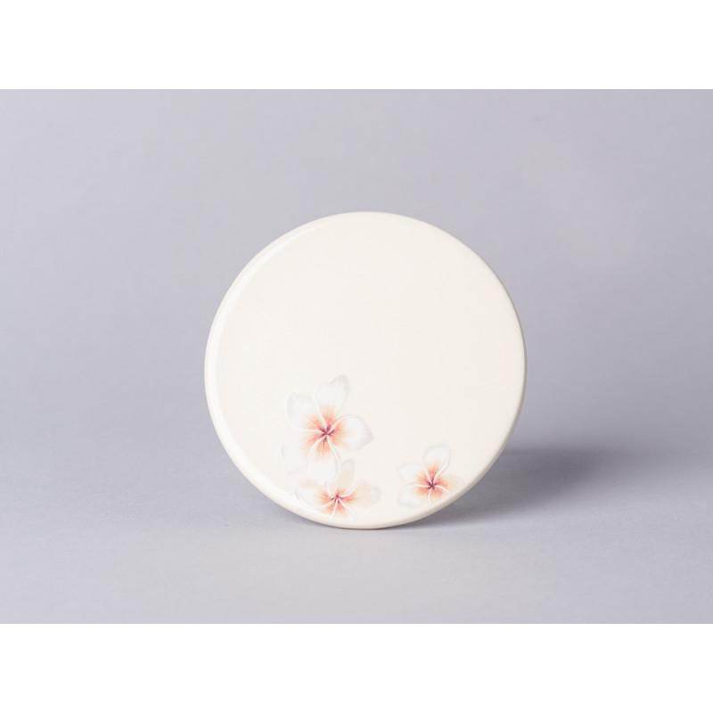 Bloomingville Aruba Teller creme mit Blumen Untersetzer aus Keramik creme beige 10 cm
