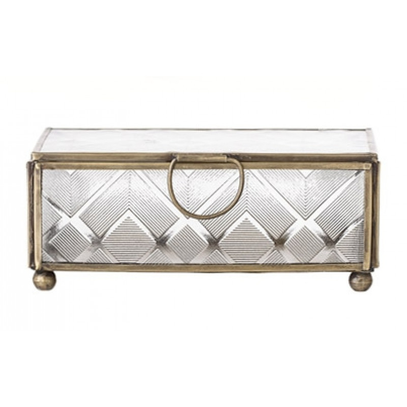 Bloomingville Aufbewahrungsbox mit Deckel aus Glas mit Messing Rahmen groß