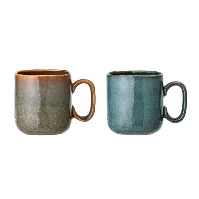 Bloomingville Becher AIME 2er Set XL Kaffeebecher aus Keramik in braun und blau Detail