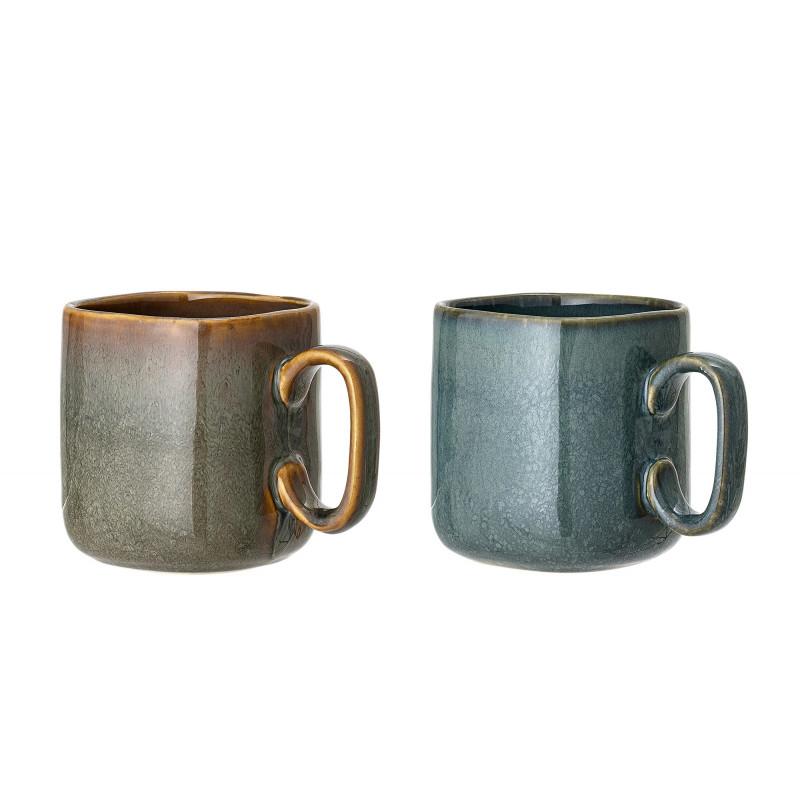 Bloomingville Becher AIME 2er Set XL Kaffeebecher aus Keramik in braun und blau