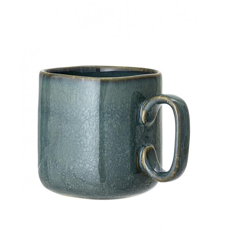 Bloomingville Becher AIME Blau XL Vier Eckiger Kaffeebecher aus Keramik für 450 ml