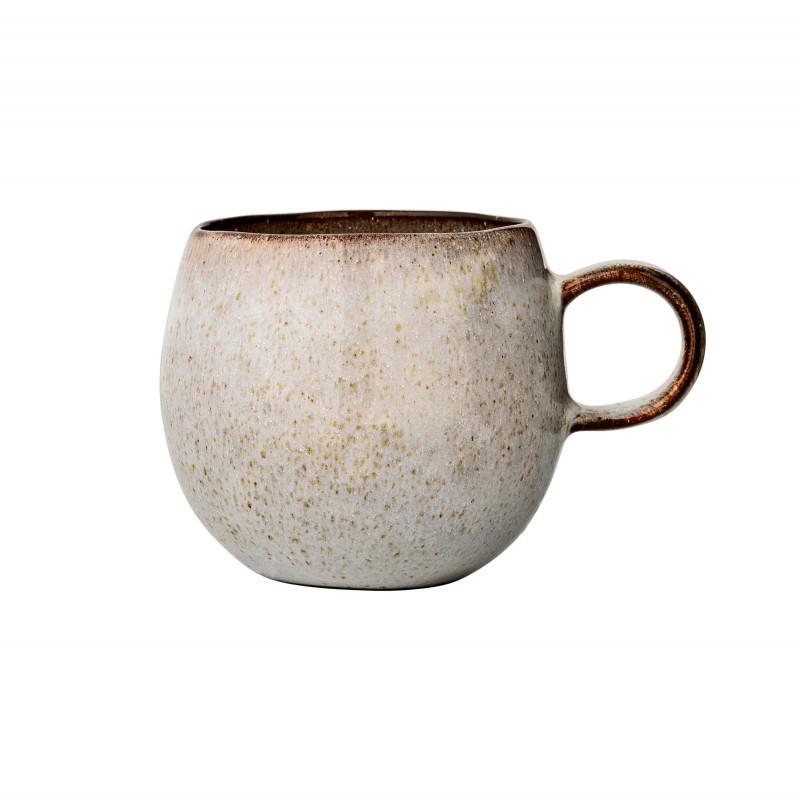 Bloomingville Becher Sandrine Grau XL Kaffeebecher aus Keramik für 500 ml