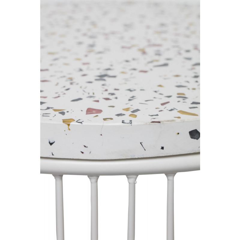 Bloomingville Beistelltisch CAP Terrazzo Tisch Platte aus Fiberstone mit Glas Steinen bunt Gestell aus Metall weiß