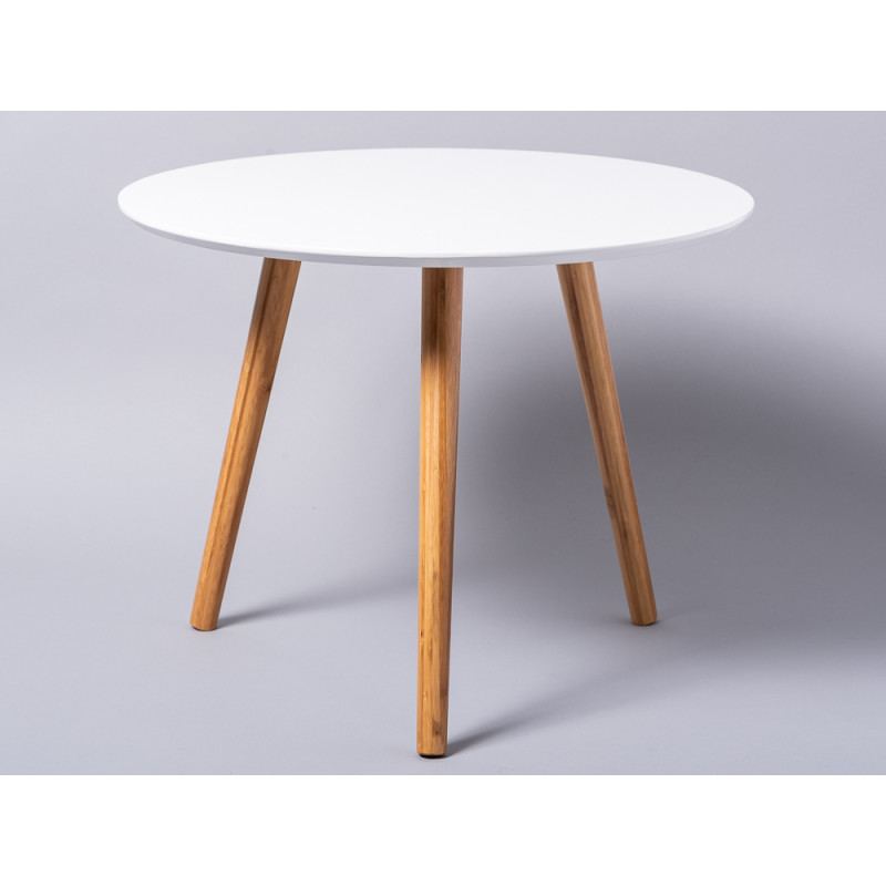 Bloomingville Beistelltisch Coffee Table weiß runder Tisch Bambus Holz groß 3 beinig