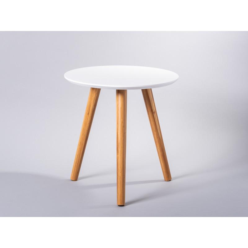 Bloomingville Beistelltisch Coffee Table weiß runder Tisch Bambus Holz klein
