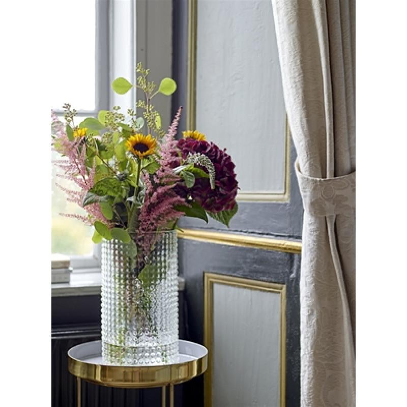 Bloomingville Beistelltisch gold grau mit Blumenvase aus Glas