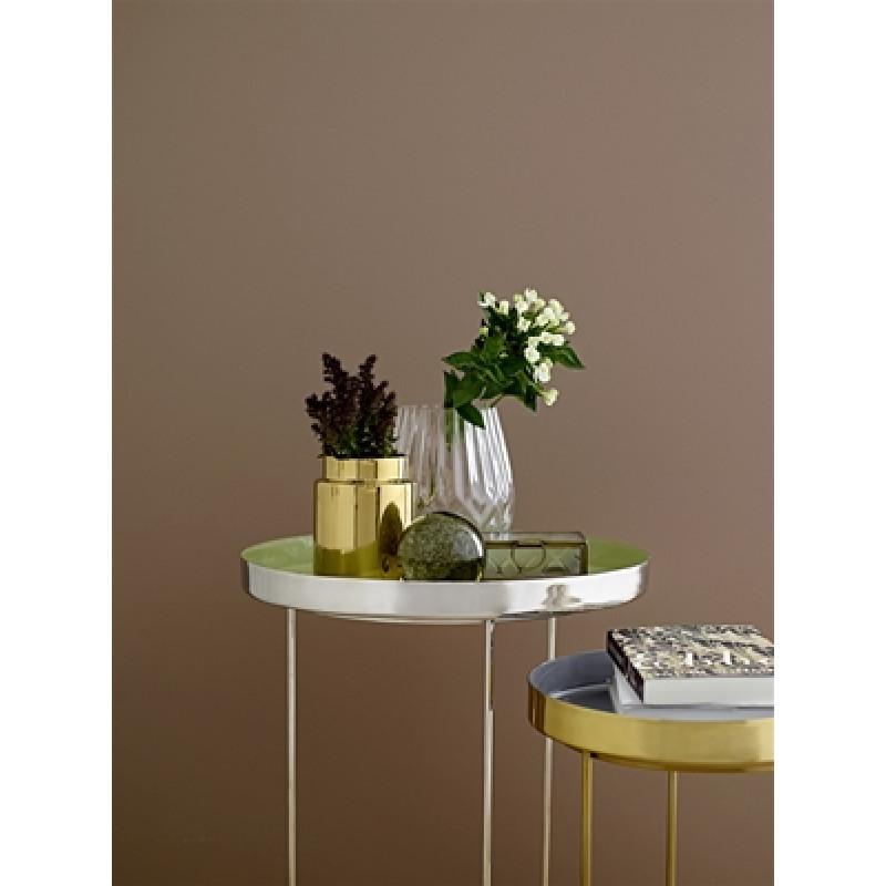 Bloomingville Beistelltisch gold grau und silber grün mit Vasen