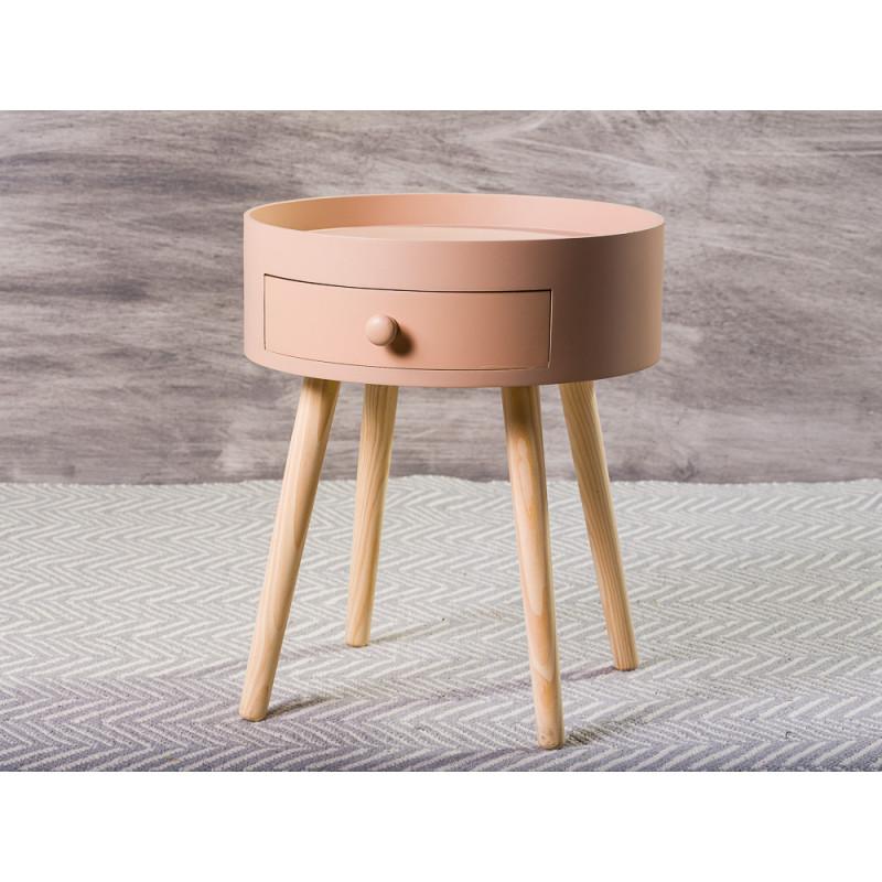 Bloomingville Beistelltisch rosa mit Schublade vier Tischbeine aus Holz 45 x 38 cm Nachttisch