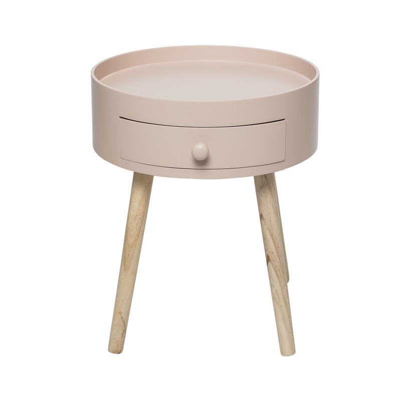 Bloomingville Beistelltisch Schublade rosa Runder Tisch Höhe 45 cm