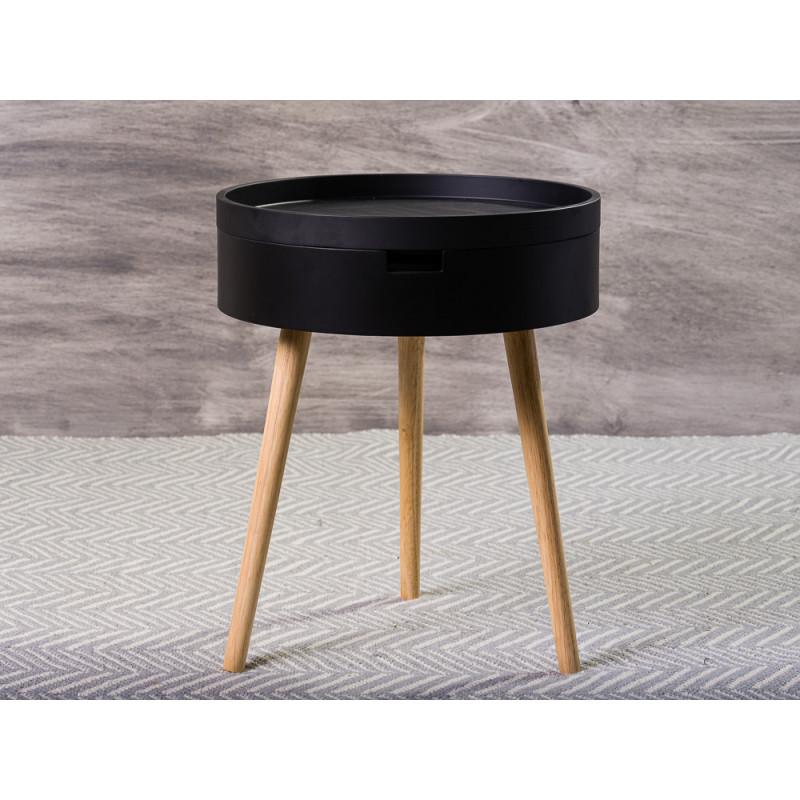 Bloomingville Beistelltisch Schwarz mit Staufach 38 cm Nachttisch rund Coffee Table schlicht modern Design