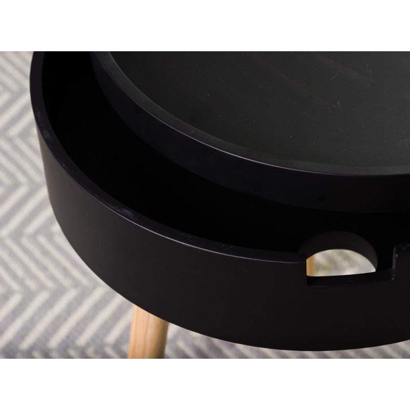 Bloomingville Beistelltisch Schwarz mit Staufach 38 cm Nachttisch rund Detail Material