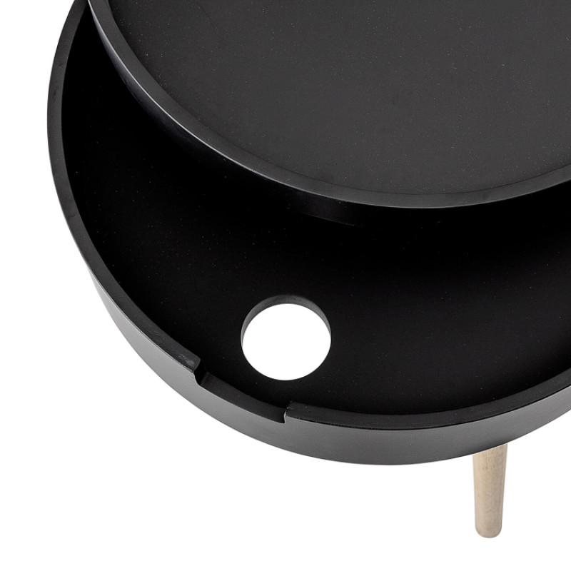 Bloomingville Beistelltisch Schwarz mit Stauraum 38 cm Nachttisch rund Detail