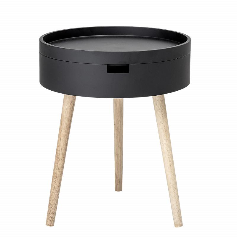 Bloomingville Beistelltisch Schwarz mit Stauraum 38 cm Nachttisch rund