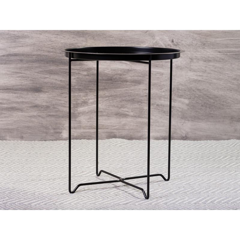 Bloomingville Beistelltisch Soon Schwarz aus Metall runder Tisch mit abnehmbaren Tablett 45x50 cm