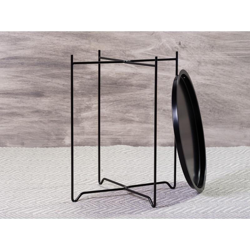 Bloomingville Beistelltisch Soon Schwarz aus Metall runder Tisch mit Tablett Funktion