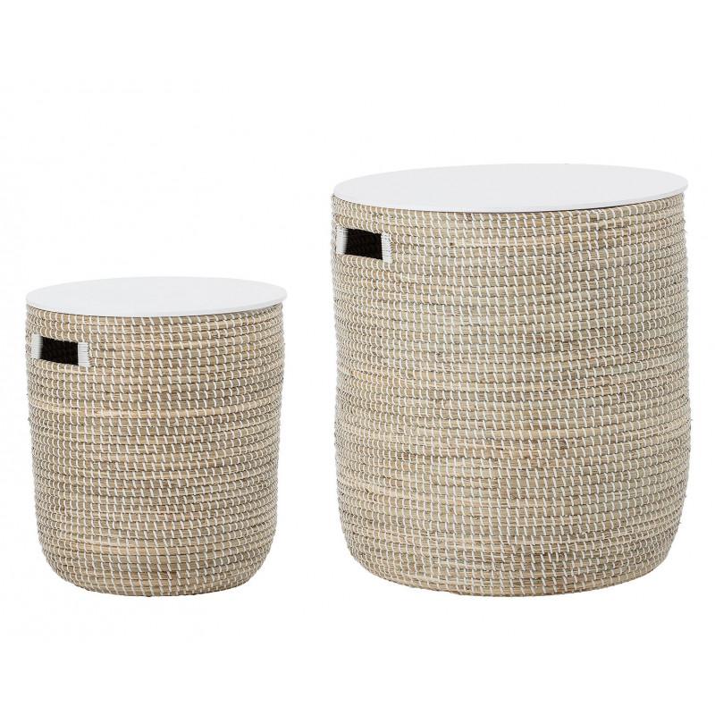 Bloomingville Beistelltisch Staufach Seegras Korb mit Deckel natur weiß 2er Set Tische