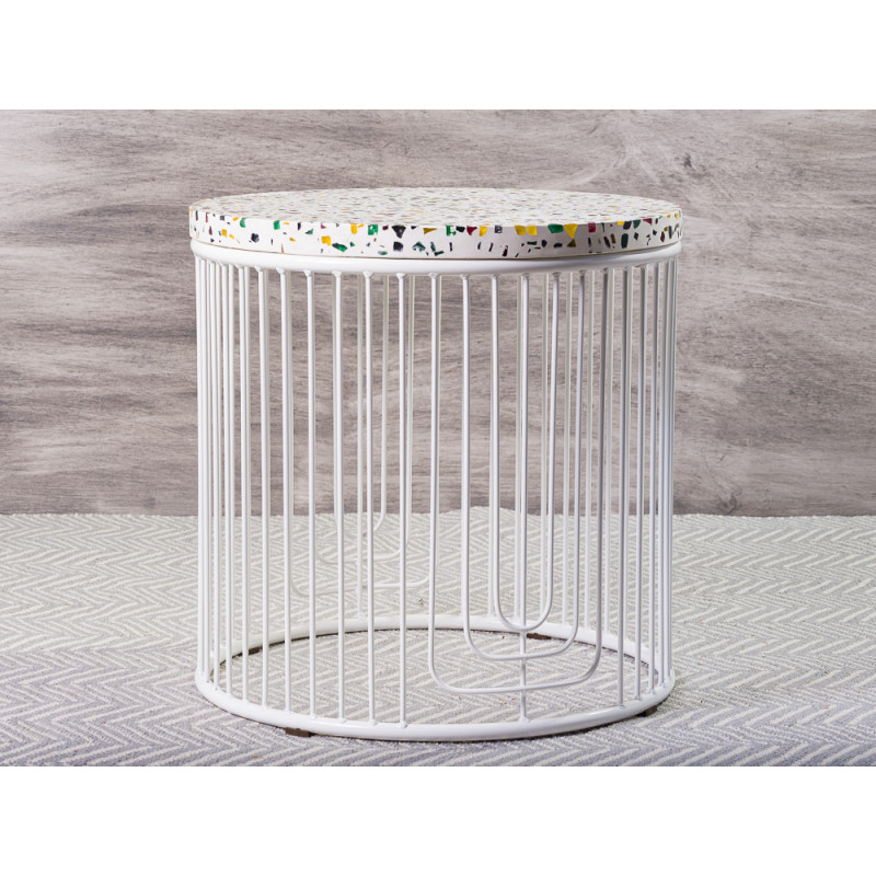 Bloomingville Beistelltisch Terrazzo weiß mit bunten Glassteinen Metall Gestell 50x50 cm Blumentisch schwer