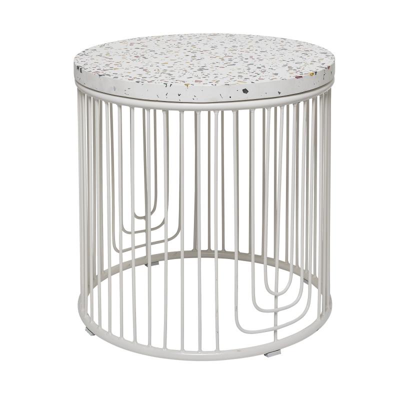 Bloomingville Beistelltisch Terrazzo weiß mit bunten Glassteinen Metall Gestell 50x50 cm
