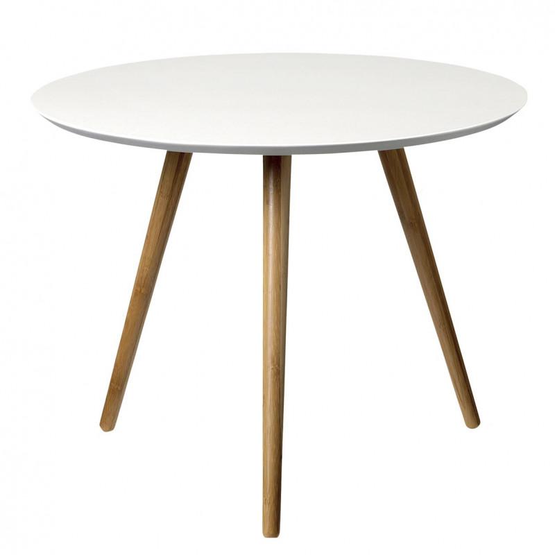 Bloomingville Beistelltisch weiß Coffee table 3 Beine aus Bambus Holz weiße Tischplatte