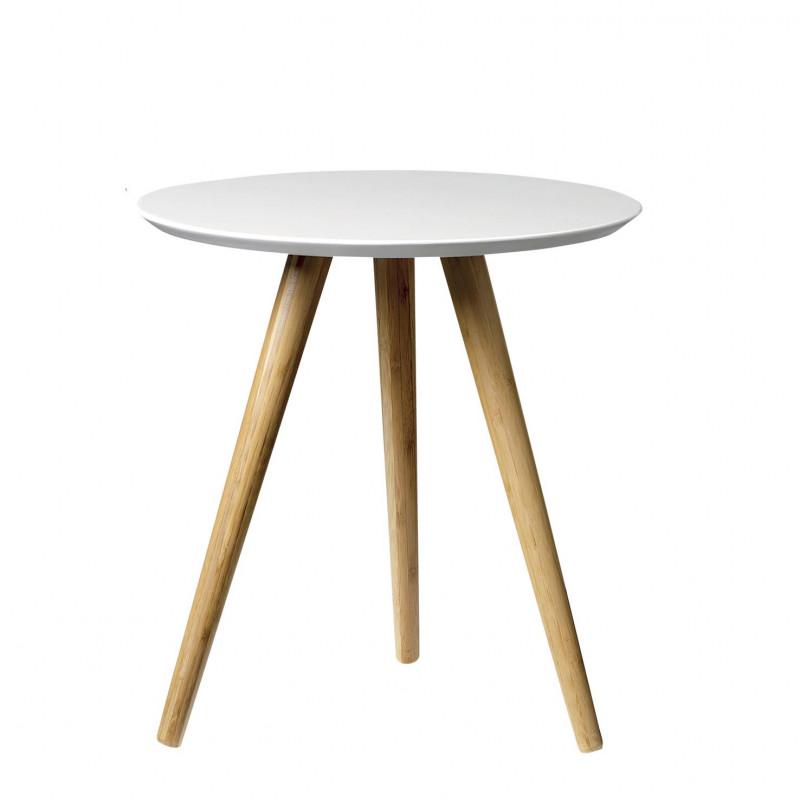 Bloomingville Beistelltisch weiß Coffee table Bambus mit weißer Tischplatte 36x40 cm