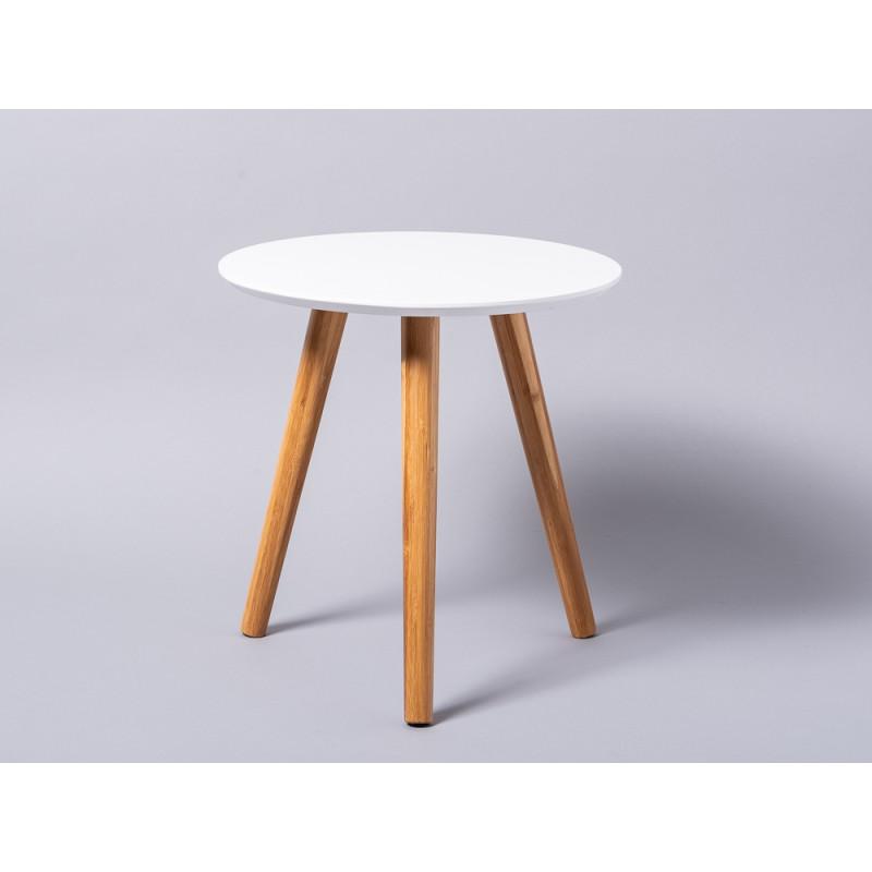 Bloomingville Beistelltisch weiß rund drei Beine Bambus Holz Coffee Table 39 cm