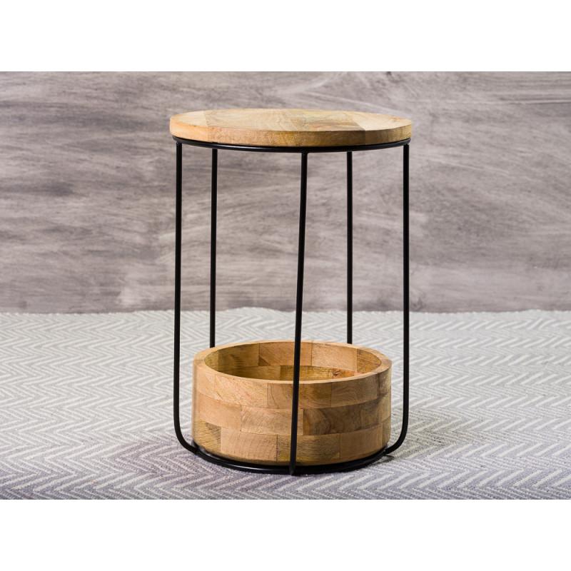 Bloomingville Beistelltisch Willie Mango Tisch aus Holz in braun schwarz mit Ablagefach Schale 34 x 48 cm