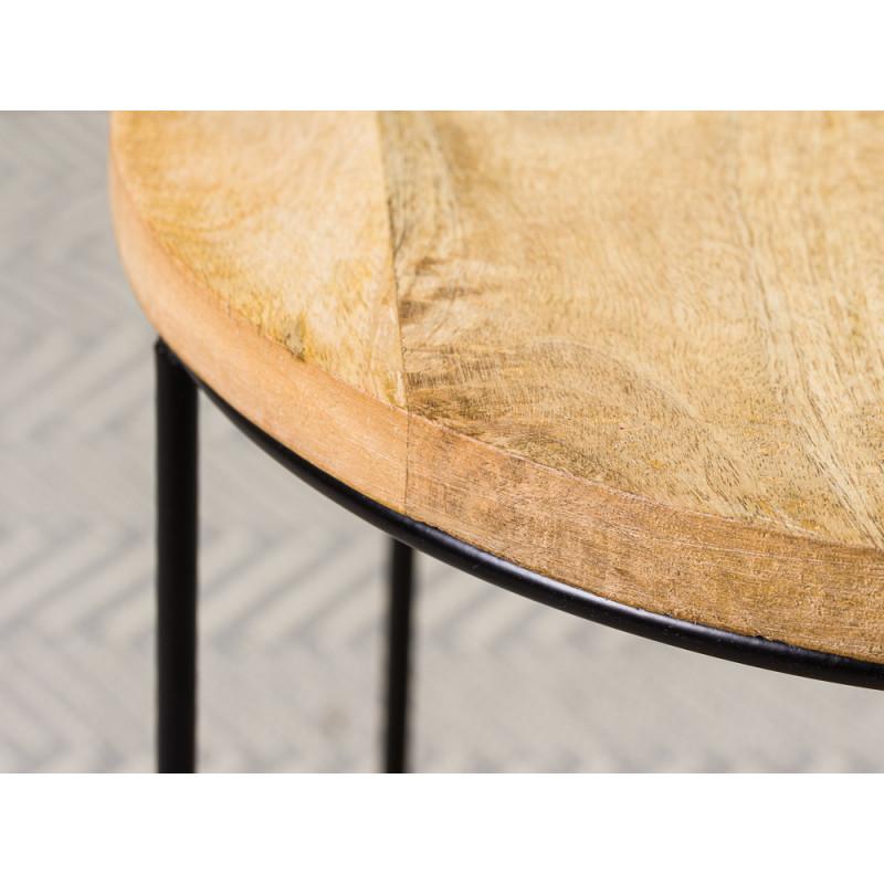 Bloomingville Beistelltisch Willie Mango Tisch aus Holz in braun schwarz mit Ablagefach Schale Detail Holz