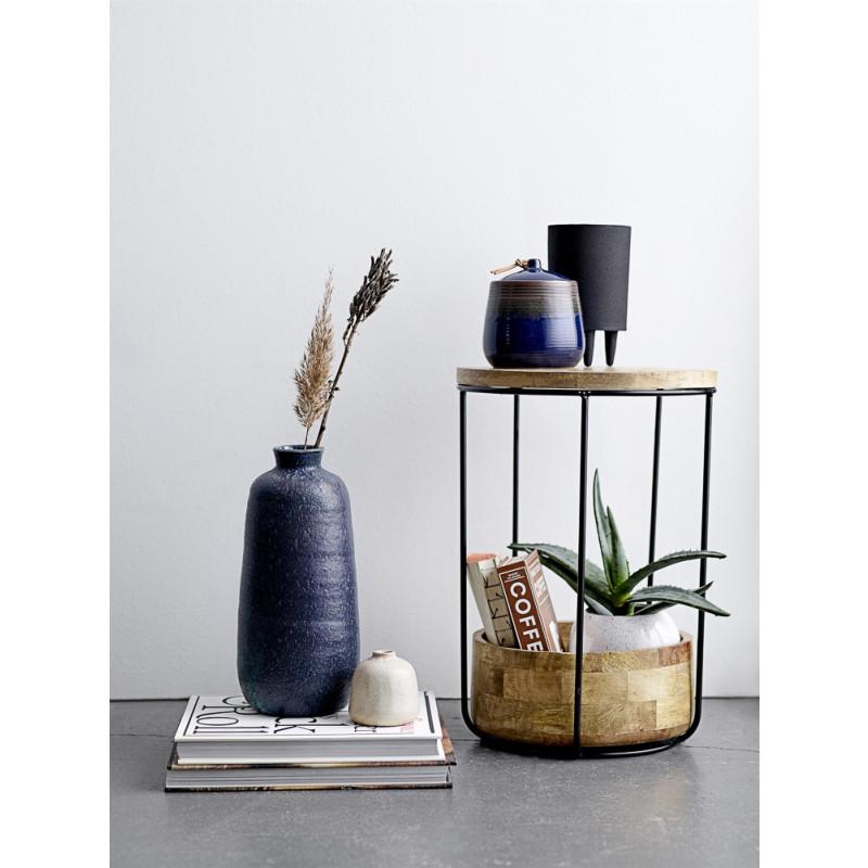 Bloomingville Beistelltisch Willie Mango Tisch aus Holz Möbel in braun schwarz mit Ablagefach Schale moderne Deko