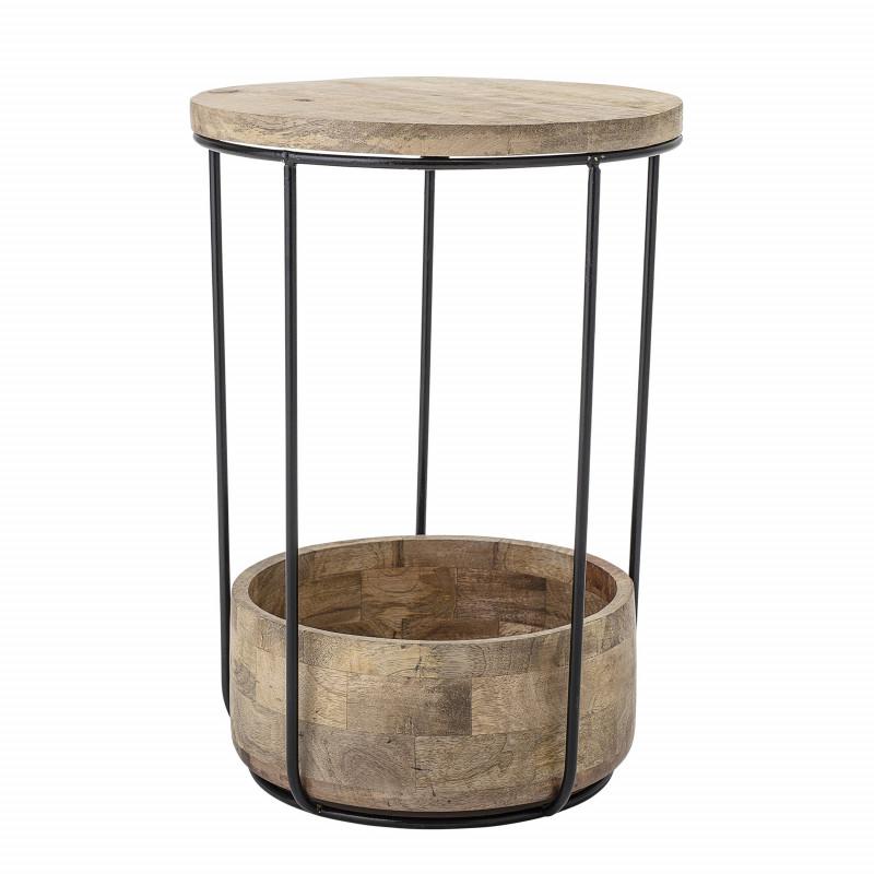 Bloomingville Beistelltisch Willie Mango Tisch aus Holz Möbel in braun schwarz mit Ablagefach Schale