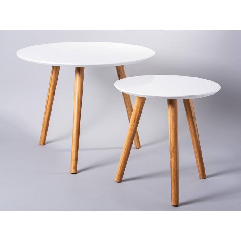 Bloomingville Beistelltische Coffee Table weiß runde Tische Bambus Holz 2er Set