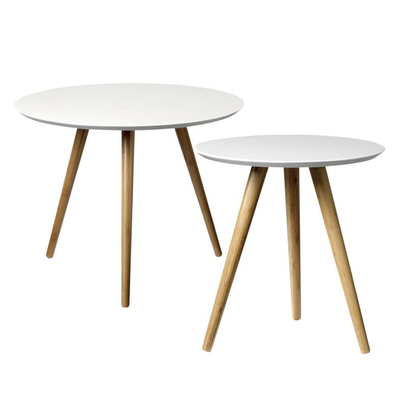 Bloomingville Beistelltische weiß aus Bambus Holz 2er Set
