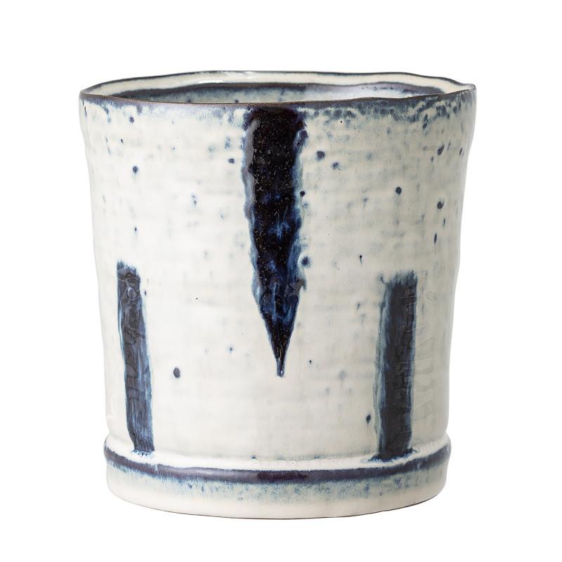 Bloomingville Blumentopf Blau  Weiß 13 cm Keramik Übertopf Höhe 14 cm Bloomingville Produkt Nummer 82047915