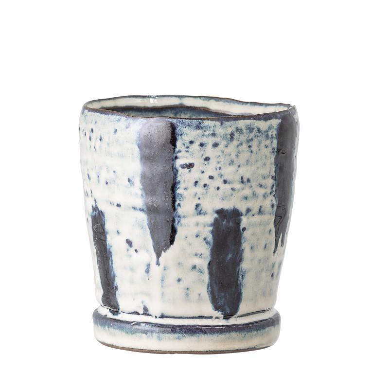 Bloomingville Blumentopf Blau  Weiß 9,5 cm Keramik Übertopf Höhe 10,5 cm Bloomingville Produkt Nummer 82047914