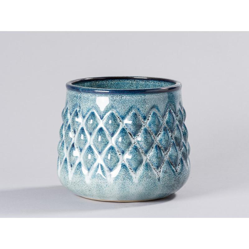 Bloomingville Blumentopf Blau hell Karo Design erhaben 3D Keramik Übertopf Durchmesser 16 cm Modern rustikal für Fensterbank